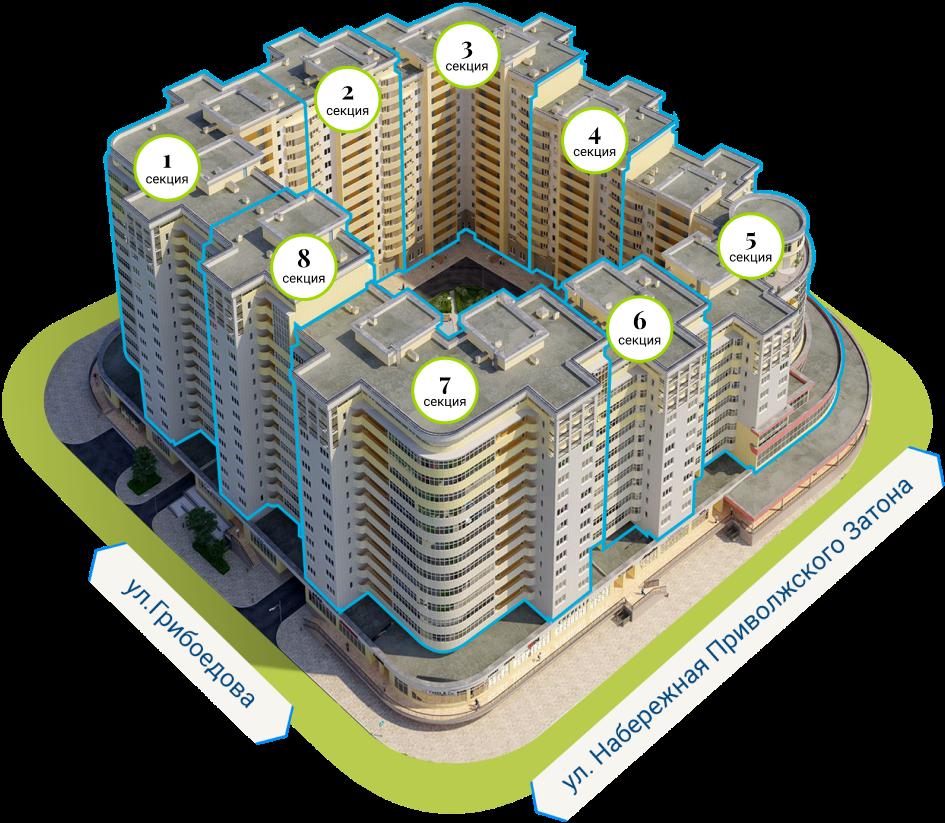 Схема секций здания